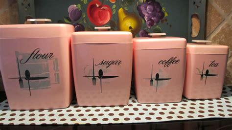 vintage pink kitchen canisters shabby chic