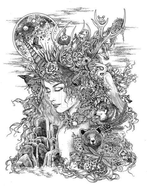 Gaia Dreams of Earth by LKBurke29 … | Coloring pages, Goddess tattoo, Mother earth tattoo