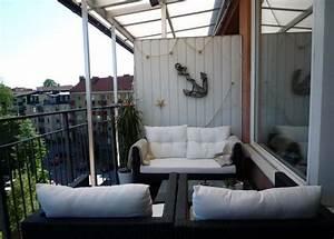 balkoneinrichtung im maritimen stil fischernetz deko und With balkon ideen maritim