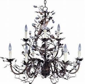 Oil rubbed bronze leaf and vine crystal chandelier chandeliers lighting tropical