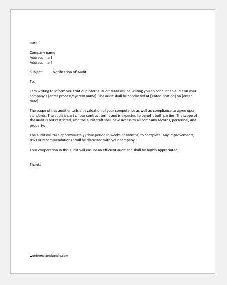 miscellaneous notification letters  audit formal