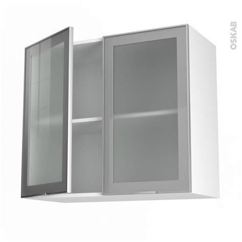 facade de porte de cuisine meuble de cuisine haut ouvrant vitré façade alu 2 portes