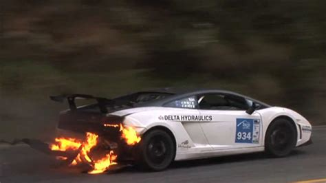 Watch This Lamborghini Gallardo Win A Race On Fire Autoblog