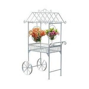 Patio Plant Stands Wheels by Plant Stand Flower Cart Garden Wagon White Steel Metal
