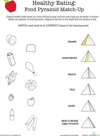 healthy eating food pyramid match up worksheets