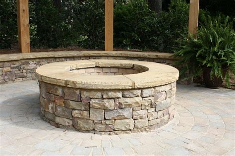 stacked firepit with flagstone cap fireplaces and