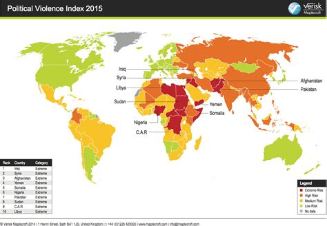 Map Shows Risks Of Political Violence In 2015 - Business ...