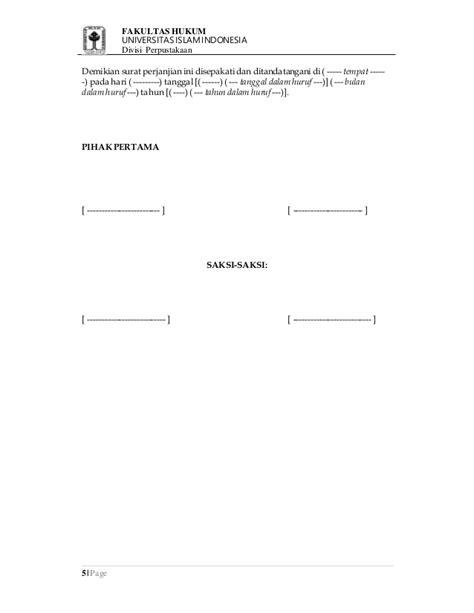 contoh surat perjanjian jual beli tanah  bangunan fh uii