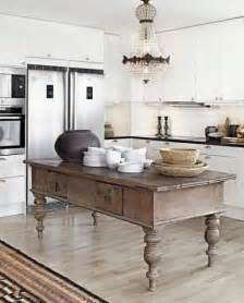 Antique Kitchen Island This Antique Island In The Kitchen Adds A Unique Rustic Farmhouse Charm To The Space