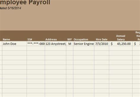 employee payroll template  excel templates
