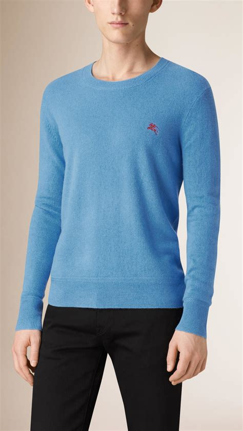 mens burberry sweater burberry crew neck sweater in blue for lyst