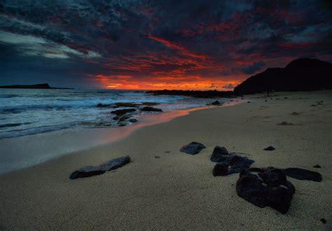 wallpaper landscape sunset sea bay rock shore sand