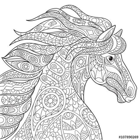 zentangle stylized cartoon horse mustang isolated
