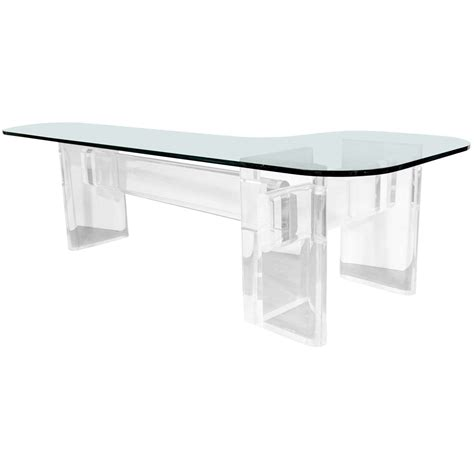 glass table l custom made quot l quot shaped lucite and glass desk by karl