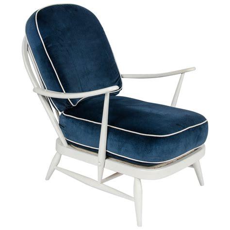 vintage 1950s ercol white wood blue velvet chair by lucian