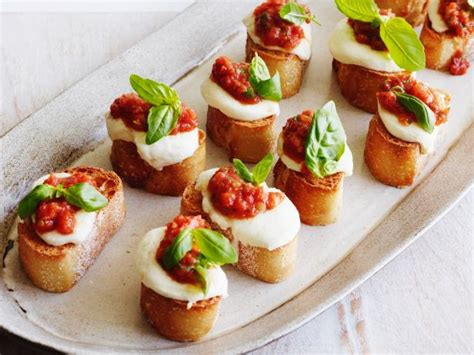 vegetarian canapes easy tomato mozzarella and basil bruschetta recipe giada de