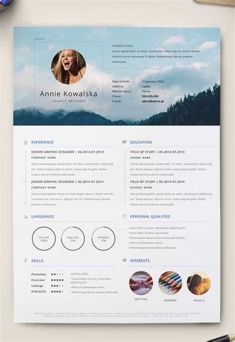 editable minimalist resume cv  adobe illustrator