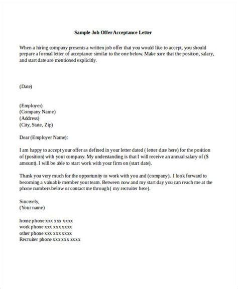 job acceptance letters