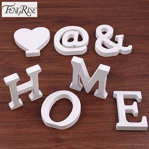 home decor 8cm wooden white letters table ornaments With white letter ornaments