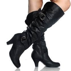womens boots black black slouch boots buckle scrunch fashion dress womens high heels shoes the