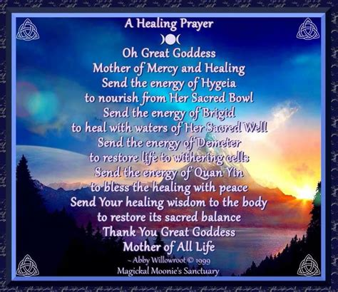 healing prayer wiccan prayers  blessings