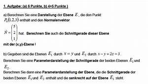 Schnittgerade Zweier Ebenen Berechnen : analysis darstellung der normalform bei vektoren und weitere aufgaben darstellung der ebene ~ Themetempest.com Abrechnung