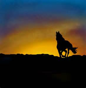 Horse Silhouette Sunset Painting