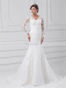 v neck long sleeves lace over satin mermaid gown with With robe manche longue dentelle