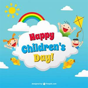 Funny children's day card in colorful style Vector | Free ...