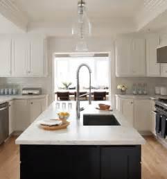 white kitchen black island black kitchen island white marble countertop design ideas