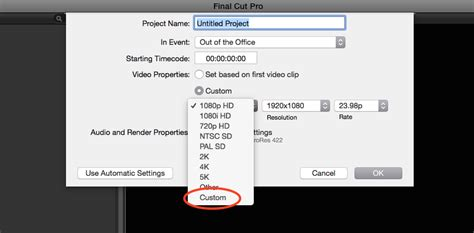 Instagram Resolution How To Start A New Cut Pro Project For Instagram