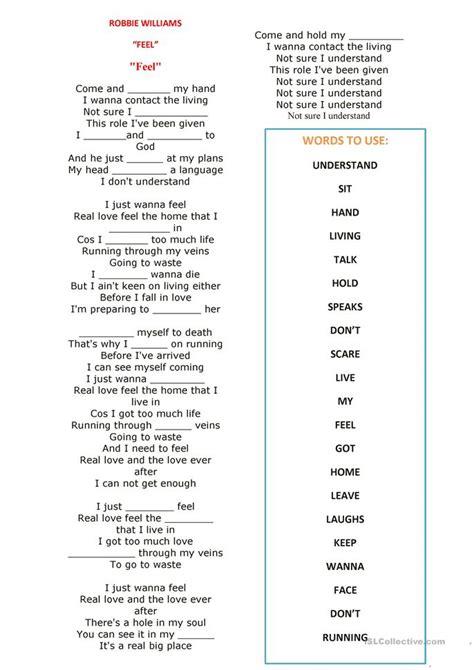 present simple song feel robbie williams worksheet