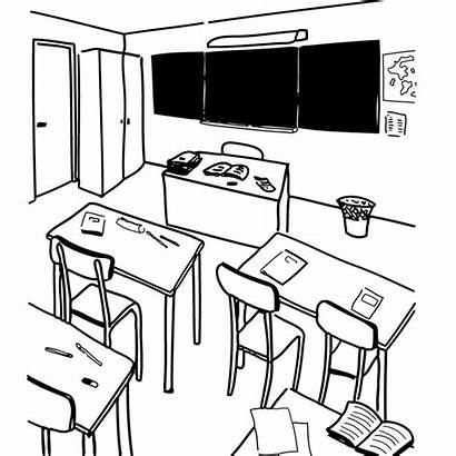 Classroom Classe Coloring Objets Architecture Ecole Drawing