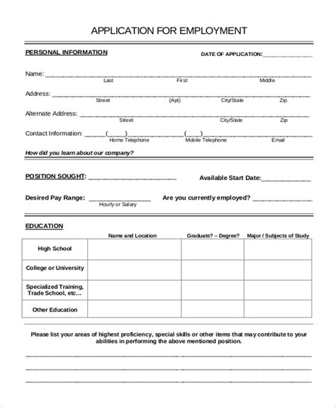 application form a sle application form 10 exles in word pdf