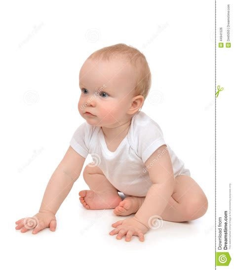 Infant Child Baby Toddler Sitting Or Crawling Happy
