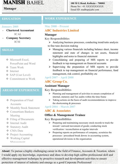 best resume format for chartered accountant best resume format for chartered accountant