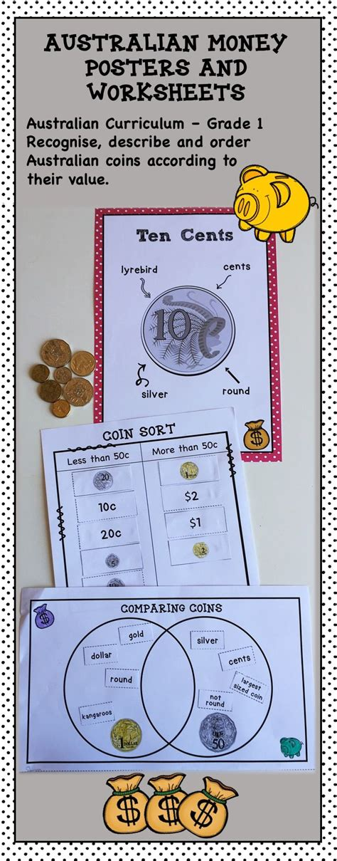 australian money posters and worksheets higher order