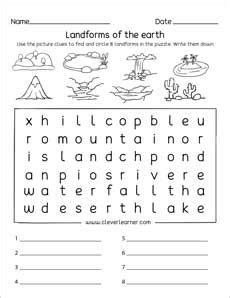 landforms printables  worksheets  kindergarten
