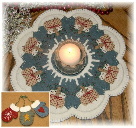 snow babies winter rug candle mat