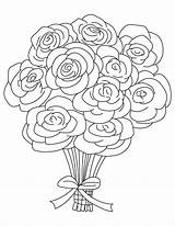 Coloring Bouquets Rose Roses Bouquet Popular sketch template