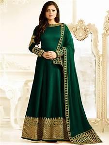 Buy Drashti Dhami bottle green color silk party wear anarkali kameez in UK, USA and Canada