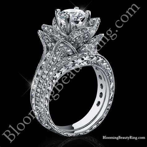 flower wedding ring set 2 08 ctw large engraved blooming wedding ring set bbr434en set unique