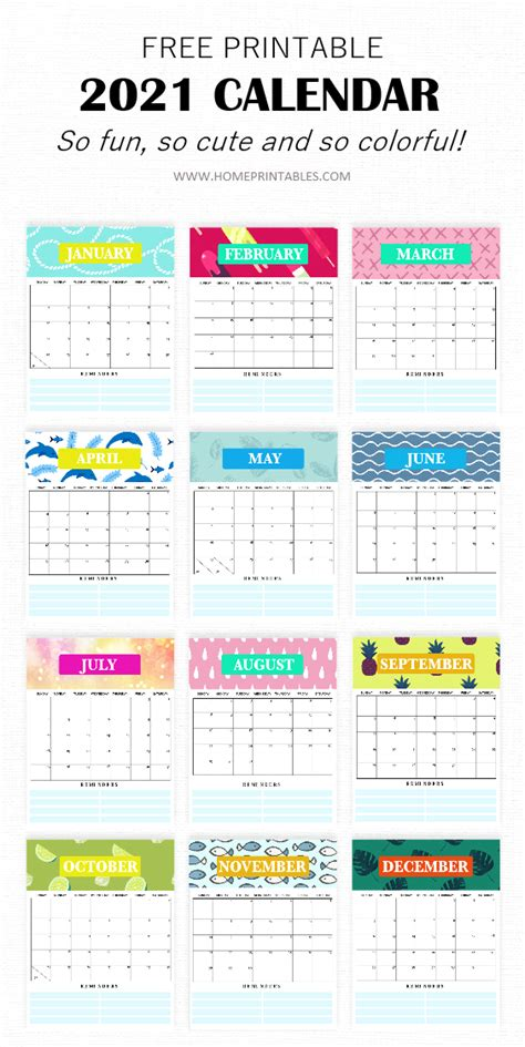 Get Cute Printable Monthly Calendar 2021  Background