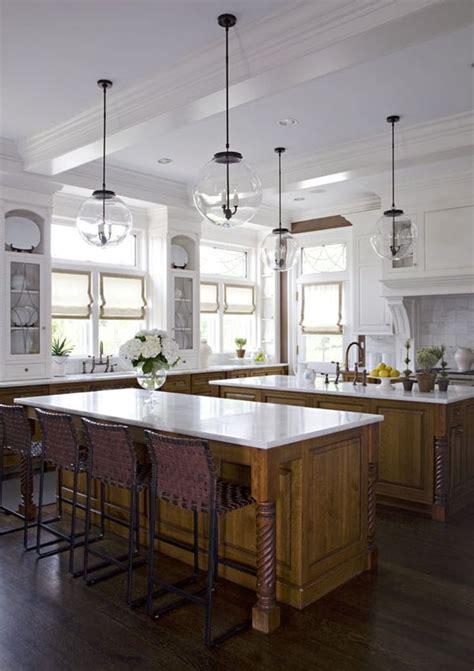 oak  white kitchen  double islands  sb long