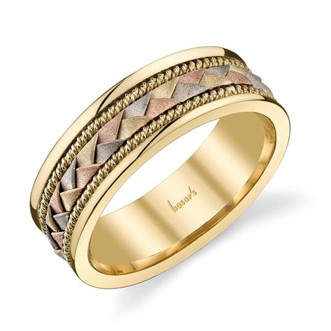 husar s house of fine diamonds 14kt white yellow and rose gold braided men s wedding band