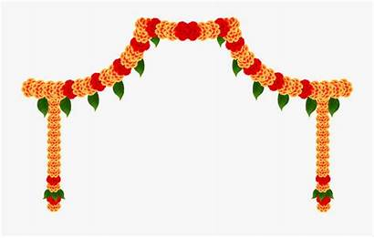 Puja Card Durga Invitation Flower Transparent Garland