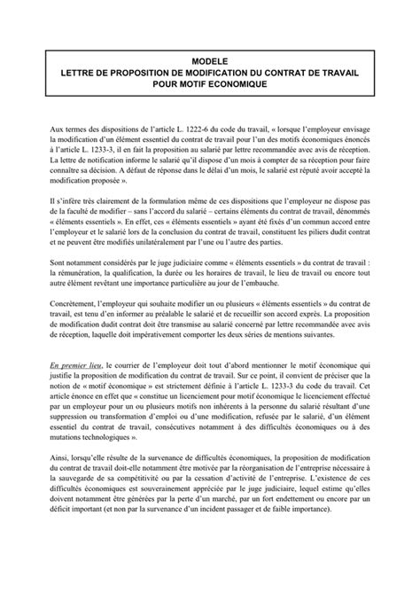 Modification De Contrat De Travail Monaco by Lettre De Proposition De Modification Du Contrat De