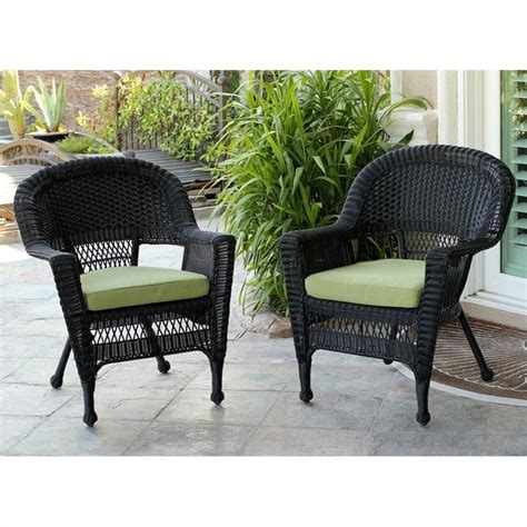 jeco wicker chair in black with green cushion set of 2