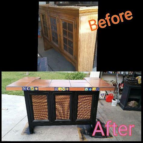repurposed china cabinet top   outdoor bar