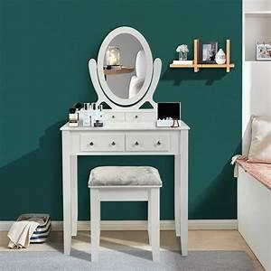 Veryke, Makeup, Vanity, Set, With, Cushioned, Stool, Wooden, Vanity, Table, For, Girls, Vanity, Desk, With